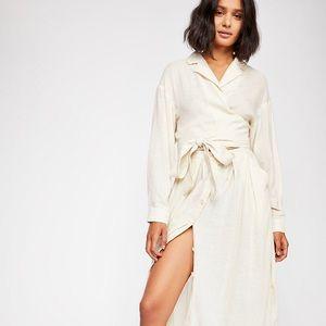 Free People Linen wrap dress